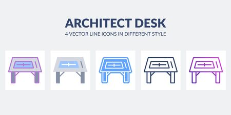 Architect desk icon in flat, line, glyph, gradient and combined styles. Illustration