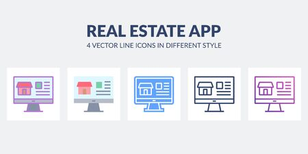 Real estate app icon in flat, line, glyph, gradient and combined styles. Ilustração
