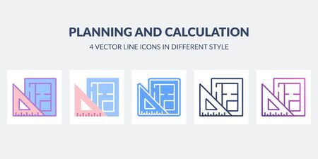 Planning and calculation icon in flat, line, glyph, gradient and combined styles.
