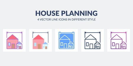 House planning icon in flat, line, glyph, gradient and combined styles.