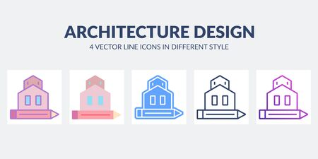 Architecture design icon in flat, line, glyph, gradient and combined styles.