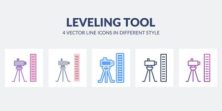 Leveling tool icon in flat, line, glyph, gradient and combined styles.