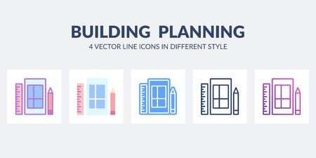 Building planning icon in flat, line, glyph, gradient and combined styles.