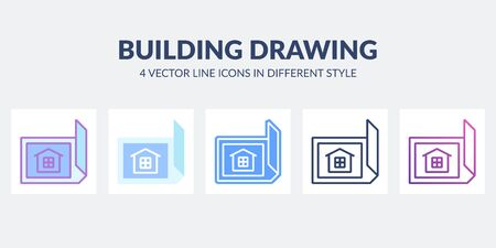 Building drawing icon in flat, line, glyph, gradient and combined styles.
