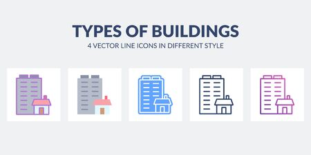 Types of buildings in flat, line, glyph, gradient and combined styles.