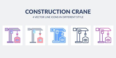 Construction crane icon in flat, line, glyph, gradient and combined styles.