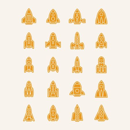 Vector isolated rockets icons set. Space ship pictogram. Future speed concept. Start project or start up desogn graphic.