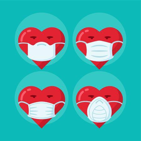 Pollution medic mask on heart vector set