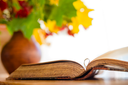 Old books. Old open book on the table. Autumn leaves in a clay jug blurred in the background. Stock Photo