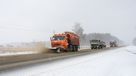snow plow: snow plow during maintenance road in winter