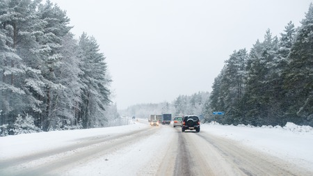 highway: snowstorm, poor visibility, slick roads and lots of traffic