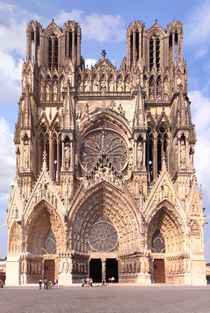 sacraments: The cathedral of Notre-Dame de Reims in the Champagne region in France built in the 18th century where most of the kings of France were crowned done.