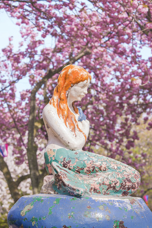 The Little Mermaid from Hans Christian Andersen's book under the cherry blossoms of Asukayama Park in Kita district, north of Tokyo. 에디토리얼