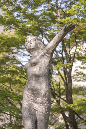 Beautiful girl sculpture in Asukayama park in the Kita district of Tokyo, Japan.