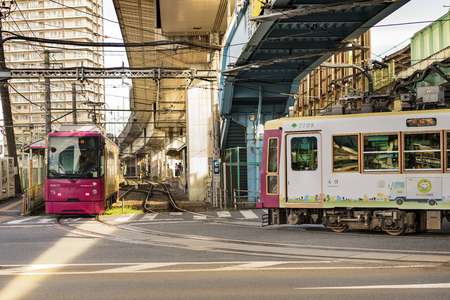 Meiji Avenue with the Ojiekimae station of the Toden Arakawa tram line in the Kita district, north of Tokyo.