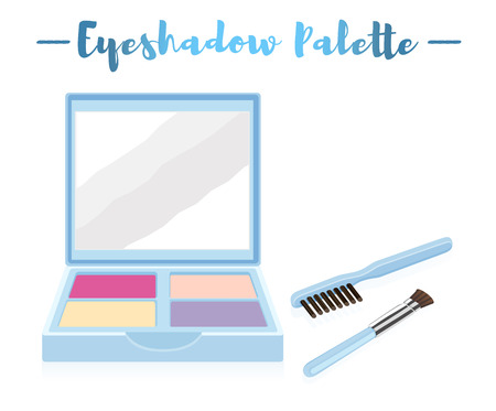 Blue vector illustration of a beauty utensil eye shadow box palette with a mirror and brushes.