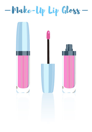 Blue vector illustration of a beauty utensil pink lipstick makeup product with pigments, oils, waxes, and emollients that apply color, texture, and protection to the lips. Illustration