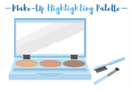 Blue vector illustration of a beauty utensil highlighting box palette with a mirror and brushes.