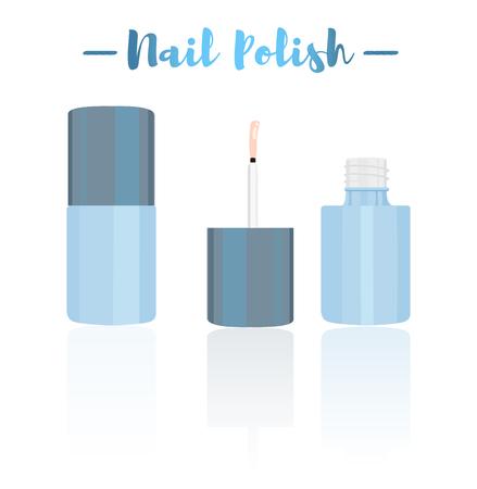 Blue vector illustration of a beauty utensil nail polish varnish makeup product  for fingernail or toenails.