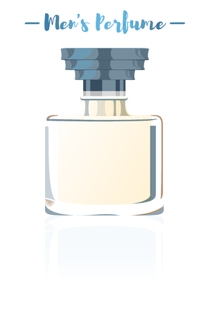 Blue vector illustration of a beauty utensil men's perfume bottle product full of flowers fragrances. Vettoriali