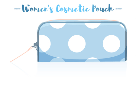 Blue vector illustration of a beauty utensil dotted pattern design pouch product.