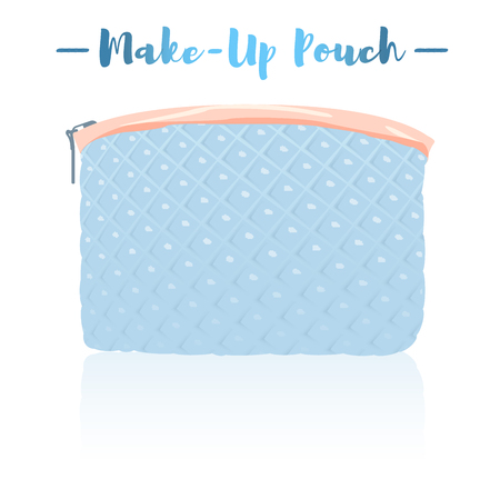 Blue vector illustration of a beauty utensil padded cloth design pouch.