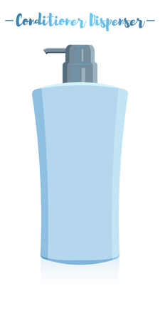 Blue vector illustration of a beauty utensil hair shampoo dispenser bottle.