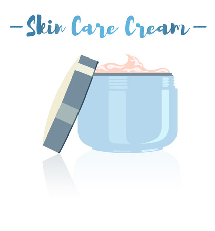 Blue vector illustration of a beauty utensil moisturizing cream pot for face.
