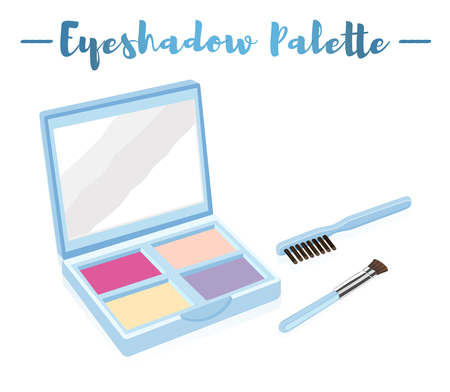 Blue vector illustration of a beauty utensil eye shadow colors box palette with a mirror and brushes.