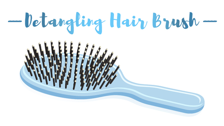 Blue vector illustration of a beauty utensil hand detangling hair brush.