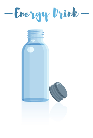 Blue vector illustration of a small bottle of vitamins energy drink.