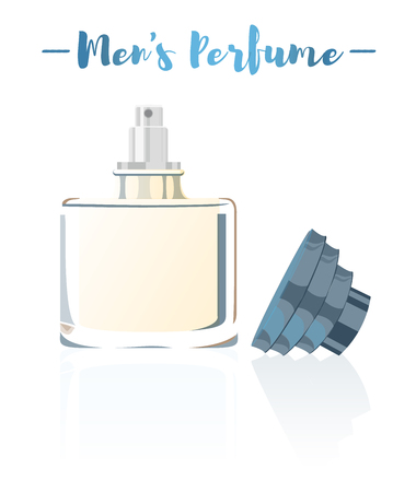 Blue vector illustration of a beauty utensil mens perfume bottle product full of flowers fragrances.