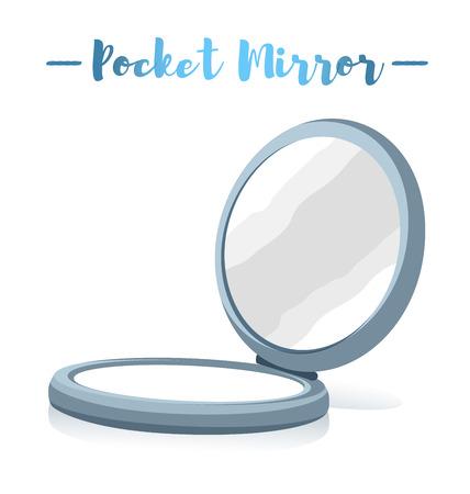 Blue vector illustration of a beauty utensil pocket mirror.