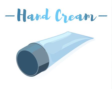 Blue vector illustration of a beauty utensil moisturizing cream tube for face and hands. Çizim