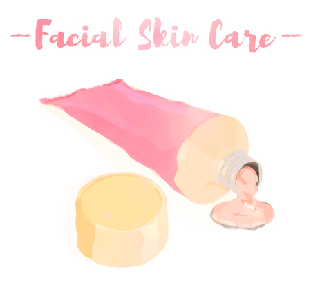pink watercolored painting vector illustration of a beauty utensil moisturizing cream tube for face. Çizim
