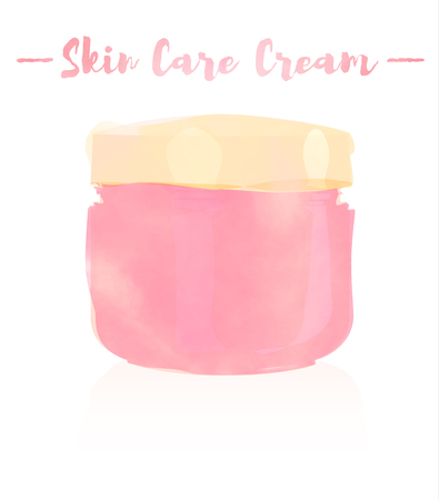 pink watercolored painting vector illustration of a beauty utensil moisturizing cream for face. Çizim