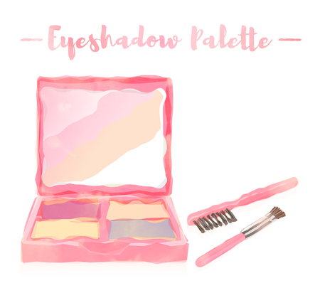 pink watercolored painting vector illustration of a beauty utensil eye shadow box palette with a mirror. Vettoriali