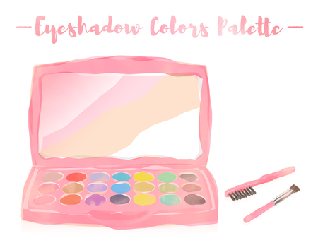 Pink watercolored painting vector illustration of a beauty utensil highlighting box palette with a mirror.