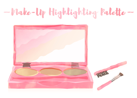 pink watercolored painting vector illustration of a beauty utensil highlighting box palette with a mirror. Illustration