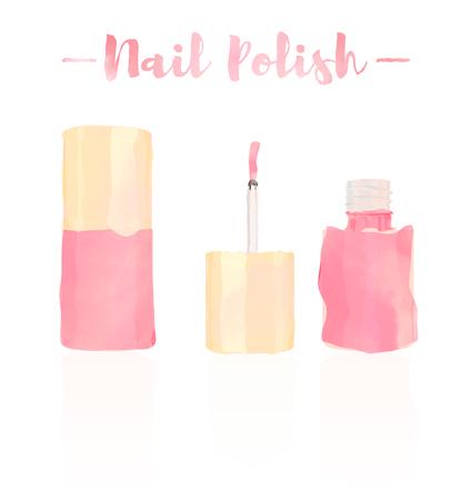 Pink watercolored painting vector illustration of a beauty utensil nail polish varnish makeup product for fingernail or toenails. Foto de archivo - 113834536