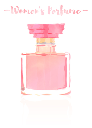 Pink watercolored painting vector illustration of a beauty utensil perfume bottle product full of flowers fragrances. Çizim