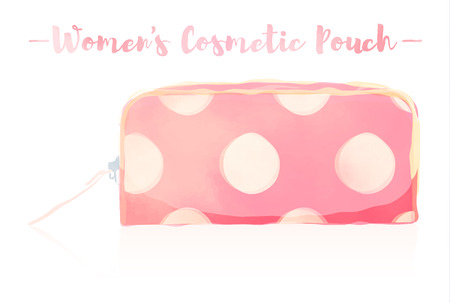 Pink watercolored painting vector illustration of a beauty utensil dotted pattern design pouch product.