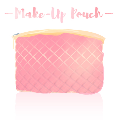 Pink watercolored blue gray painting vector illustration of a beauty utensil retro pouch with padded cloth design.