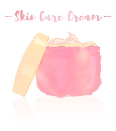 pink watercolored painting vector illustration of a beauty utensil moisturizing cream for face. Illustration