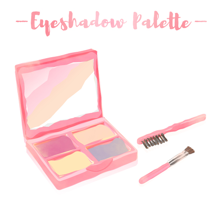 pink watercolored painting vector illustration of a beauty utensil eye shadow colors box palette with a mirror.