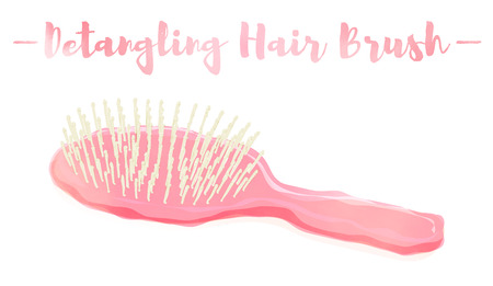 Pink watercolored painting vector illustration of a beauty utensil hand hair brush. Illustration
