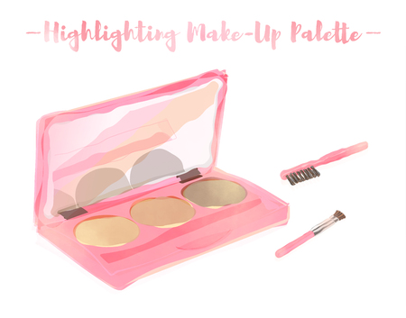 pink watercolored painting vector illustration of a beauty utensil highlighting colors box palette with a mirror.