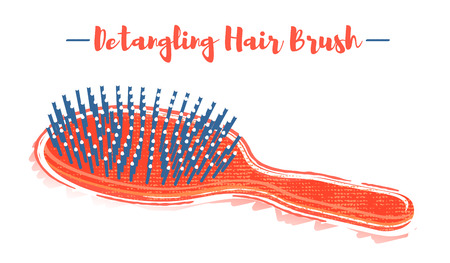 Pencil and textured style orange vector illustration of a beauty utensil hand detangling hair brush.