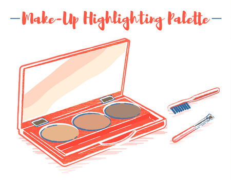Pencil and textured style orange vector illustration of a beauty utensil highlighting box palette with a mirror.