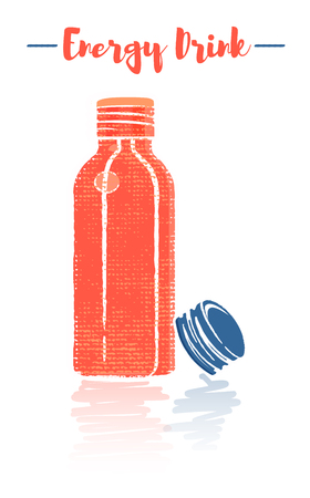 Pencil and textured style orange vector illustration of a small bottle of vitamins energy drink. Çizim
